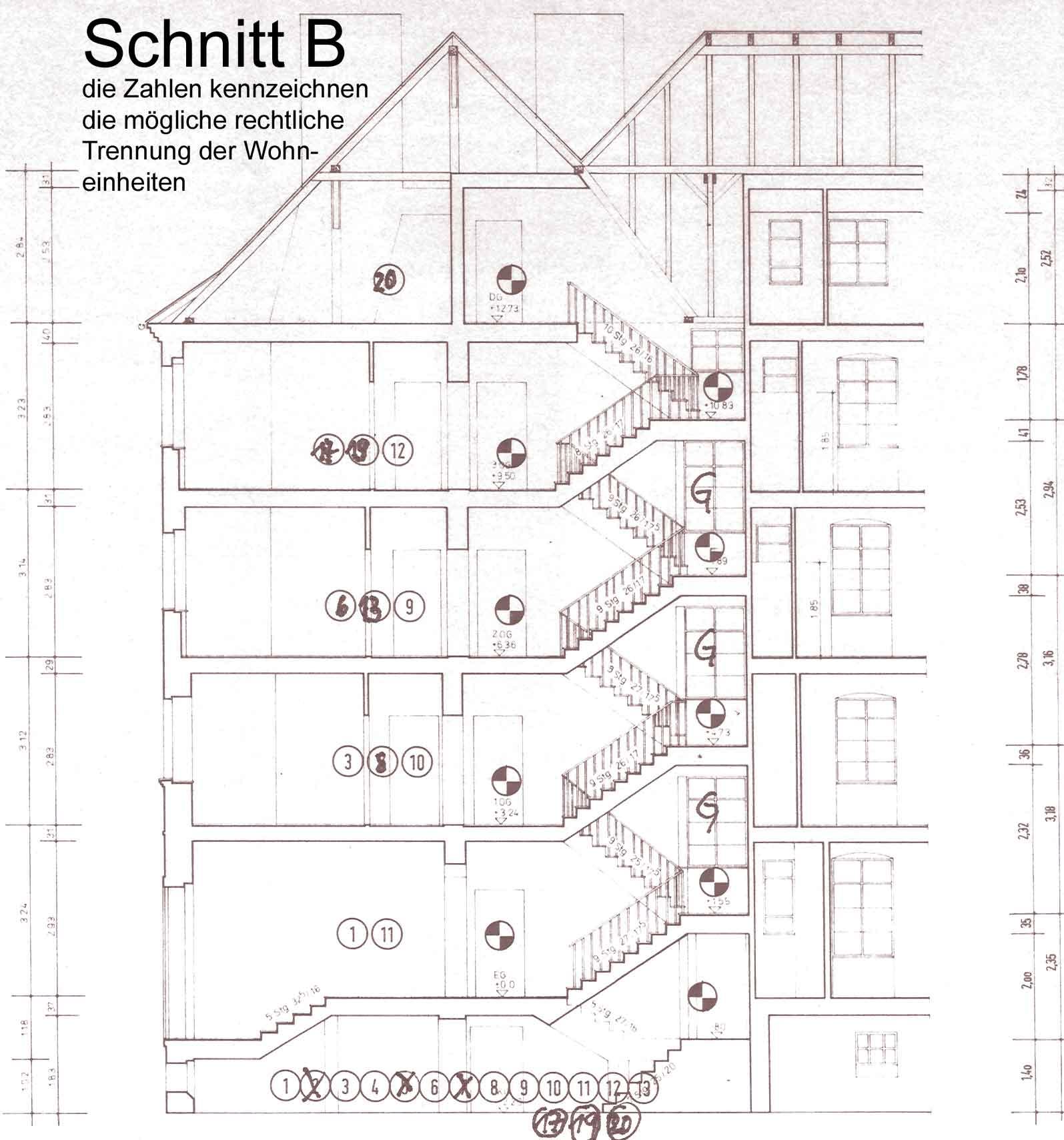 Treppenhaus technische zeichnung  Pläne der verschiedenen Ansichten